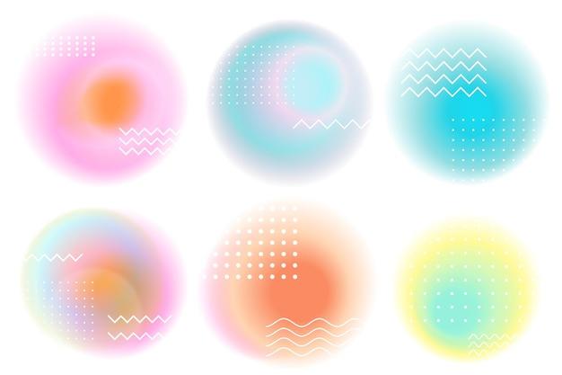 Formes abstraites rondes de dégradés rétro.