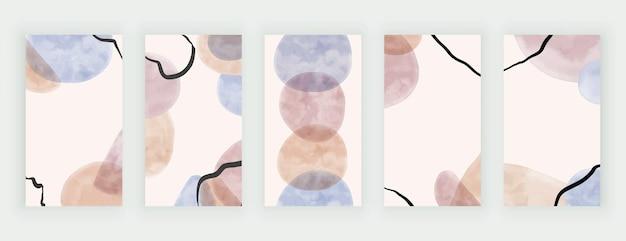 Formes d'aquarelle de coup de pinceau à main levée avec des lignes noires, bannières d'histoires de médias sociaux