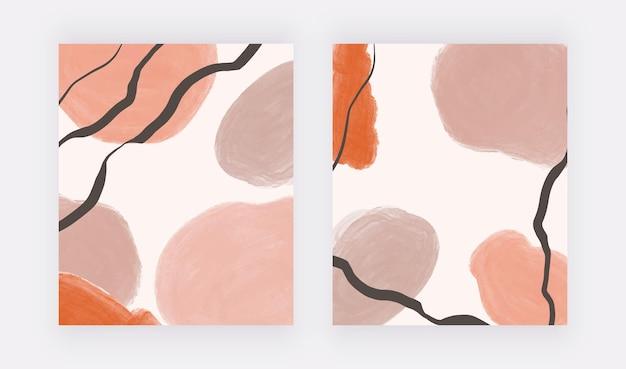 Formes d'aquarelle de coup de pinceau à main levée avec des lignes noires