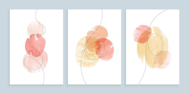 Formes aquarelles minimalistes avec ligne libre dessinée à la main