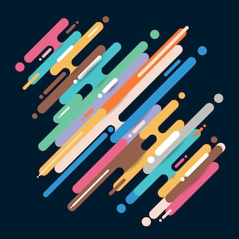 Formes arrondies diagonales abstraites multicolores