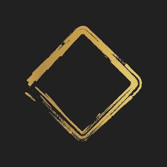 Formes carrées peintes vintage grunge doré. illustration vectorielle.