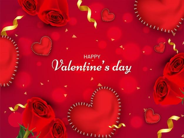 Formes de coeur brillant et fleur rose décorée fond bokeh rouge