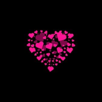 Formes de coeur fond coeur confettis éclaté isolé saint valentin concept vecteur illustration festive...