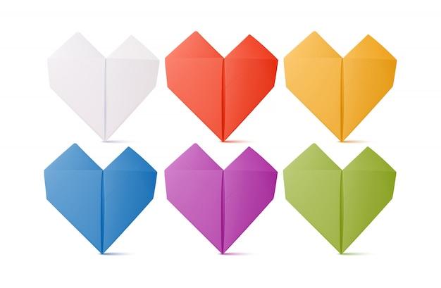 Formes de coeur en origami