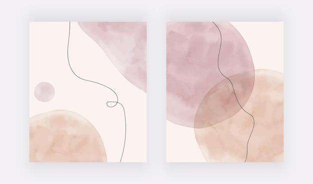 Formes de coup de pinceau aquarelle nude et rose avec des arrière-plans de lignes noires