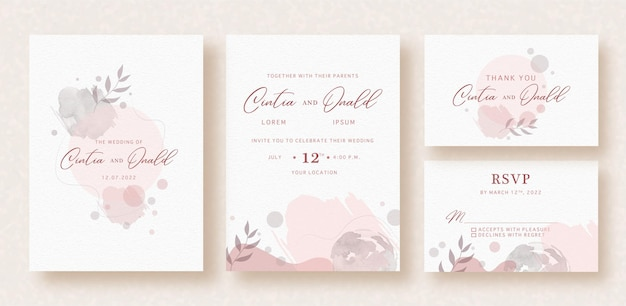 Formes florales sur invitation de mariage aquarelle splash abstrait rose