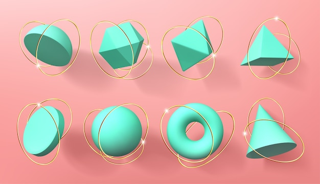 Formes géométriques 3d turquoise avec anneaux dorés