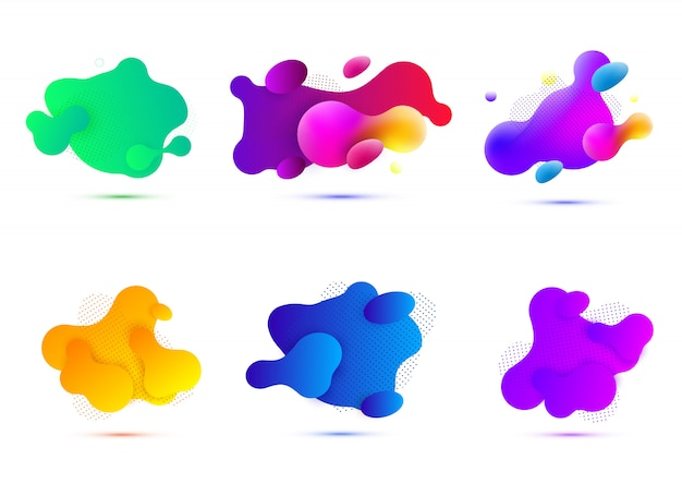 Formes géométriques abstraites. bannières de dégradé liquide isolés