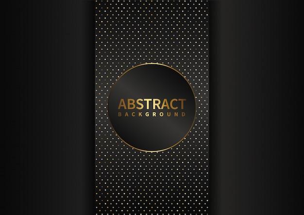 Formes géométriques abstraites couleur or sur fond noir. point et cercle de style de luxe moderne