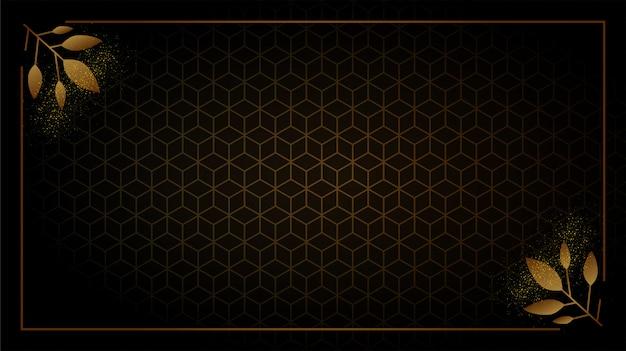 Formes géométriques abstraites de fond noir et or.