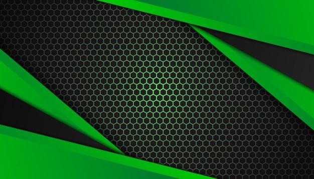 Formes géométriques abstraites verts sur fond sombre