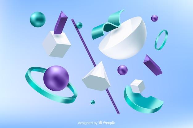 Formes géométriques anti-gravité avec effet 3d