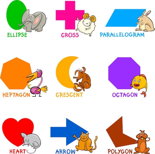 Formes géométriques de base avec des animaux de dessin animé