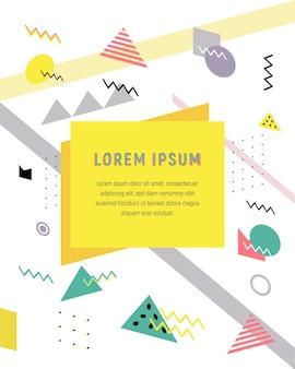 Des formes géométriques de demi-teintes tendance universelles, juxtaposées à des éléments jaune vif vif