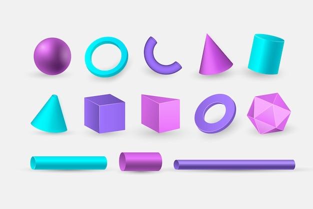 Formes géométriques en effet 3d