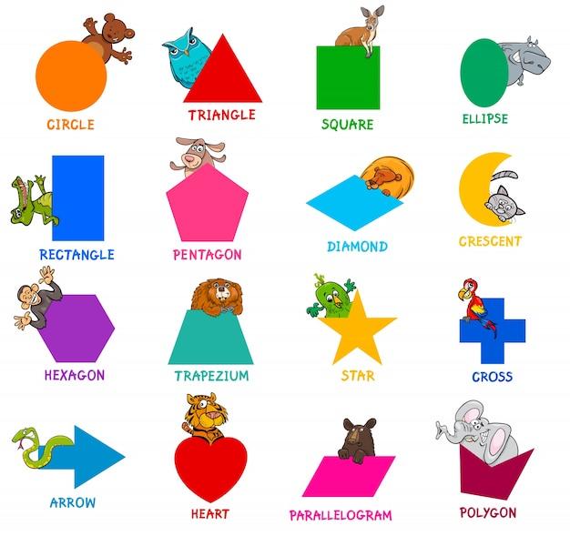 Formes géométriques avec jeu de caractères animaux