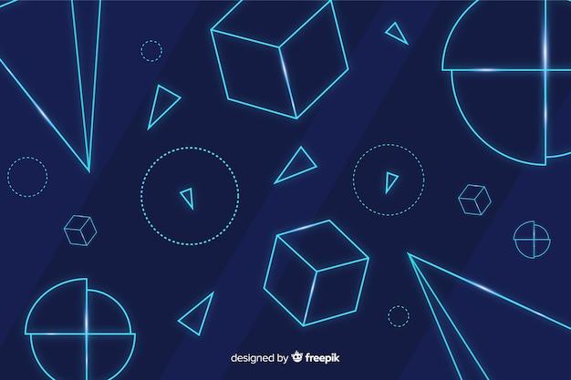 Formes géométriques néon fond bleu
