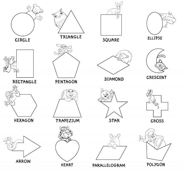 Formes géométriques noires et blanches avec des animaux