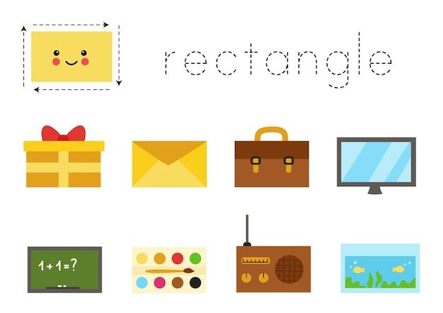 Formes géométriques pour les enfants. feuille de travail pour apprendre les formes. objets rectangulaires.