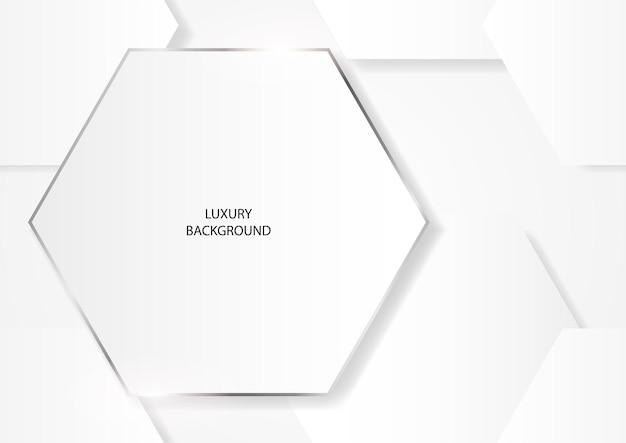 Formes hexagonales blanches propres abstraites avec cadre argenté, fond de vecteur eps 10