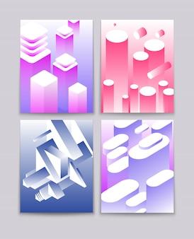 Formes isométriques dégradées cool futuristes technologiques.