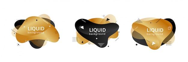 Formes liquides abstraites dorées et noires