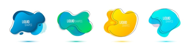 Formes liquides bannières de collection géométrique dégradé avec ombre. conception d'éléments fluides abstraits. illustration vectorielle