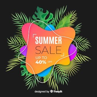 Formes liquides de vente d'été et fond de feuilles tropicales