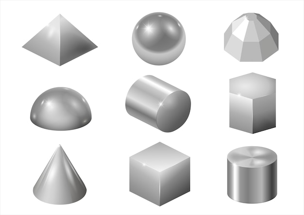 Formes en métal argenté