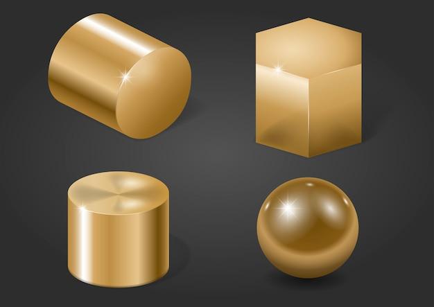 Formes en métal doré