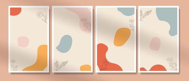 Formes minimales abstraites et affiche de boho fleur art ligne