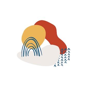 Formes organiques abstraites, éléments minimalistes, lignes dessinées à la main dans des couleurs pastel. conception abstraite moderne pour les histoires de médias sociaux, les affiches, l'image de marque. illustration vectorielle isolée sur fond blanc.