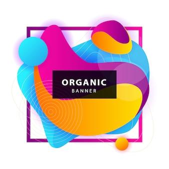 Formes organiques abstraites jaunes, bleues, violettes avec cadre
