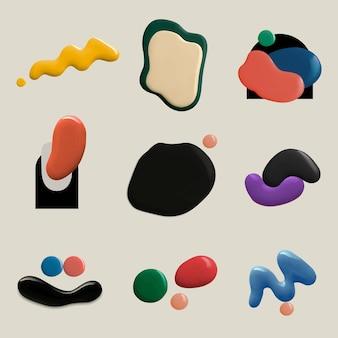 Formes de peinture de couleur colorée vecteur élément graphique d'art créatif