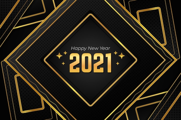 Formes polygonales dorées bonne année 2021