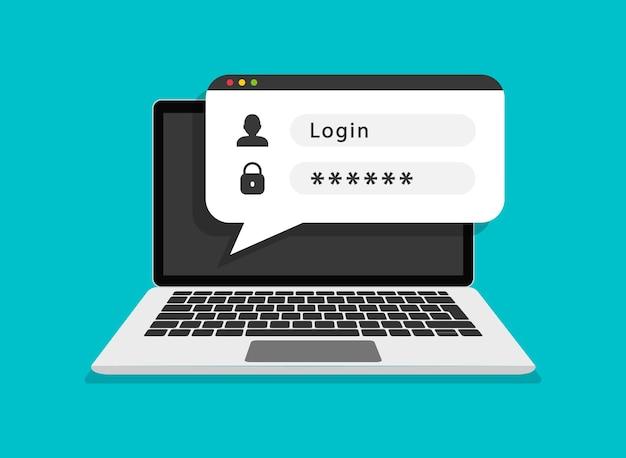 Formulaire de connexion sur écran d'ordinateur portable inscription en ligne autorisation de l'utilisateur