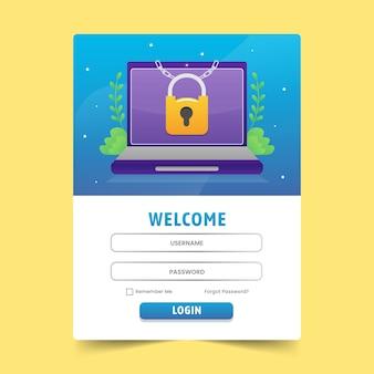 Formulaire de connexion utilisateur pour site web ou médias sociaux avec illustration