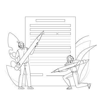Formulaire de demande de remplissage de personnes avec un crayon