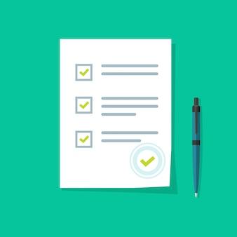 Formulaire d'enquête avec de bons résultats d'examen ou une caricature plate icône vecteur
