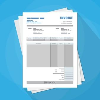 Formulaire de facture papier non rempli. impôt. le reçu. facture.