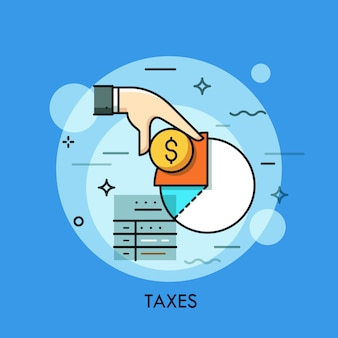 Formulaire d'impôt, main tenant une pièce d'un dollar et illustration de fine ligne de diagramme de revenu