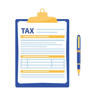 Formulaire d'impôt. presse-papiers avec formulaire fiscal et stylo