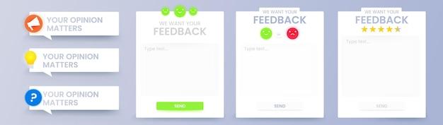 Formulaire d'interface utilisateur pour les commentaires. conception de png de vecteur de modèle pour l'enquête en ligne