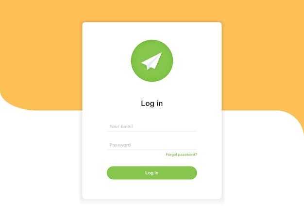 Formulaire de modèle de page de destination contextuelle de connexion avec avion en papier au design plat