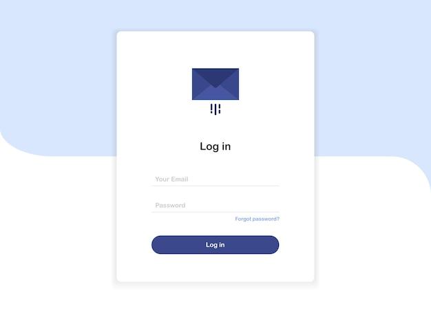Formulaire de modèle de page de destination contextuelle de connexion avec lettre dans une enveloppe au design plat