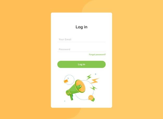 Formulaire de modèle de page de destination contextuelle de connexion avec mégaphone au design plat