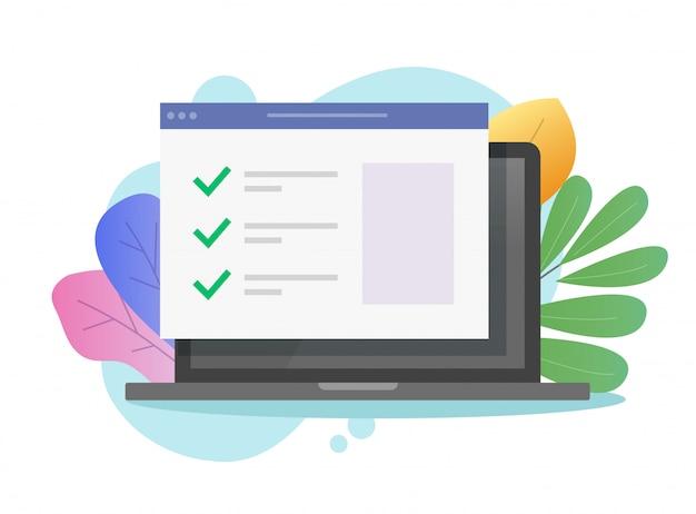 Formulaire de site web avec liste de contrôle sur écran d'ordinateur portable