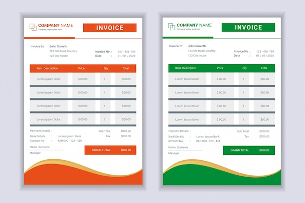 Formulaires de facture de facture professionnelle