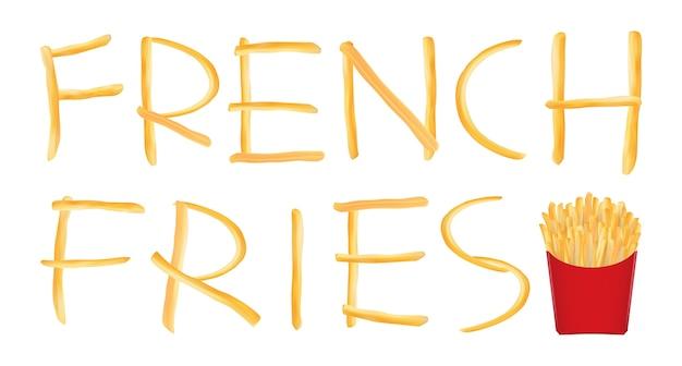 Formulation de frites avec des frites dans un logo rouge